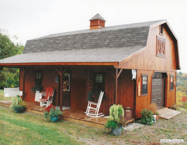 Hi loft porch barn style for 20x30 cabin ideas