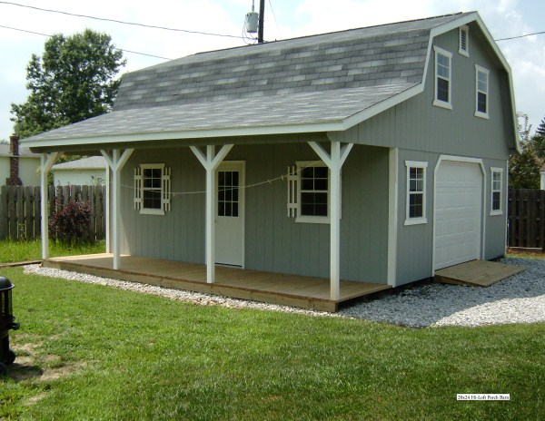 Hi loft porch barn style for Shed with loft and porch