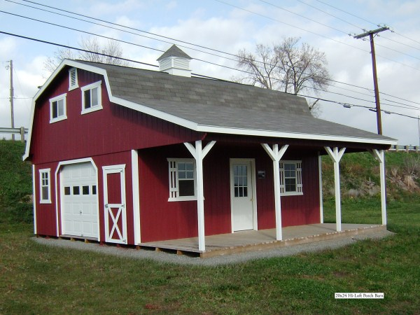 Hi loft porch barn style for Shed with porch and loft