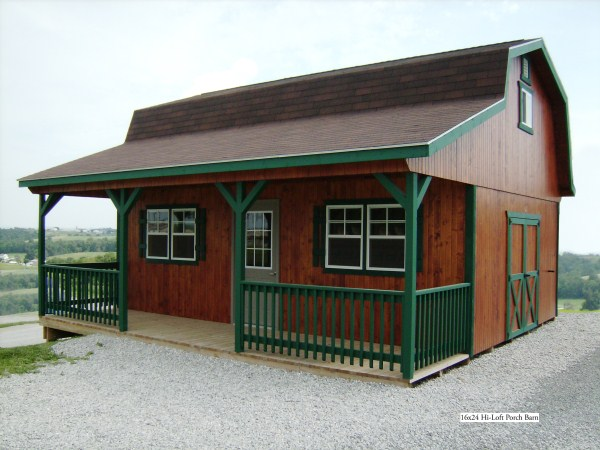 Gambrel shed with loft porch pictures to pin on pinterest for Sheds with porches for sale